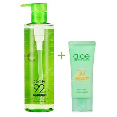 Holika Holika Aloe Waterproof Sun Gel + Aloe Shower Gel ZESTAW Żel przeciwsłoneczny z aloesem i wysokim filtrem 100 ml + Żel pod prysznic z sokiem z aloesu 390 ml
