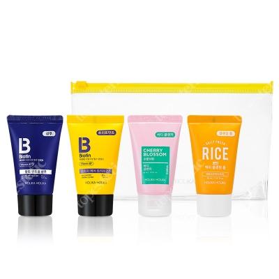 Holika Holika Biotin Travel Kit ZESTAW Szampon do włosów 30 ml + Odżywka do włosów 30 ml + Żel do ciała 30 ml + Pianka do twarzy 30 ml