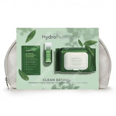Hydropeptide Clean Getaway ZESTAW Micelarne chusteczki do demakijażu twarzy 30 szt. + Esencja probiotyczna 30 ml + Plastry oczyszczające pory oraz nos 2 szt