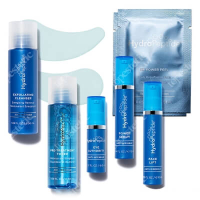 Hydropeptide Wrinkle Rescue Travel Set ZESTAW Preparat oczyszczający 50 ml + Krem 5 ml + Krem 10 ml + Serum 10 ml + Tonik 50 ml + Chusteczki 2 szt + Maska 1 op + Próbka 2 szt