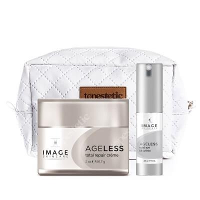 Image Skincare Ageless Set ZESTAW Liftingujący i komfortowy krem na noc 56,7 g + Liftingujący krem pod oczy z kwasem glikolowym 15 ml + Kosmetyczka