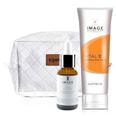 Image Skincare Ageless Total Pure Hyaluronic Filler + Hydrating Enzyme Masque 20% + Kosmetyczka ZESTAW Kwas hialuronowy w 6 postaciach 30 ml + Bogata maska nawilżająca i odżywiająca z 20% wit. C, 56,7 ml + Biała, pikowana kosmetyczka