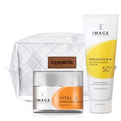 Image Skincare Daily Ultimate Protection Moisturizer SPF 50 + Hydrating Repair Creme 20% + Kosmetyczka ZESTAW Krem 91 g + Krem z wit. C 56.7 g + Kosmetyczka