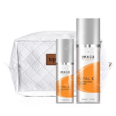 Image Skincare Vital C Serum + Vital C Cleanser ZESTAW Nawilżający i wygładzający lekki krem z 15% wit. C, 50 ml + Preparat oczyszczający z 12% wit. C, 177 ml + Kosmetyczka