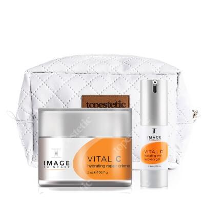Image Skincare Vital C Set ZESTAW Silnie odżywczy i wygładzający zmarszczki krem z 20% wit. A,C i E 56,7 g + Wygładzający zmarszczki krem pod oczy 15 ml + Kosmetyczka