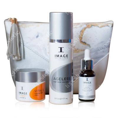 Image Skincare Wygładzenie Zmarszczek i Blask ZESTAW Kwas hialuronowy 30 ml + Preparat oczyszczający 177 ml + Silnie odżywczy krem 56,7 g + Kosmetyczka