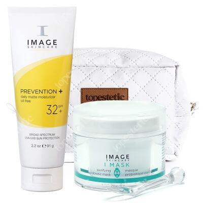 Image Skincare Zestaw Oczyszczająco - Matujący ZESTAW Maska z probiotykiem i prebiotykiem 57 g + Lekki krem ochronny i matujący dla cer tłustych 91 g + Kosmetyczka