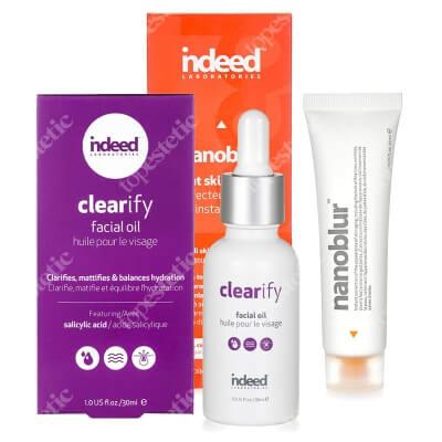 Indeed Nanoblur + Clearify Facial Oil ZESTAW Natychmiastowy efekt nieskazitelnej skóry 30 ml + Olejek niwelujący niedoskonałości twarzy 30 ml