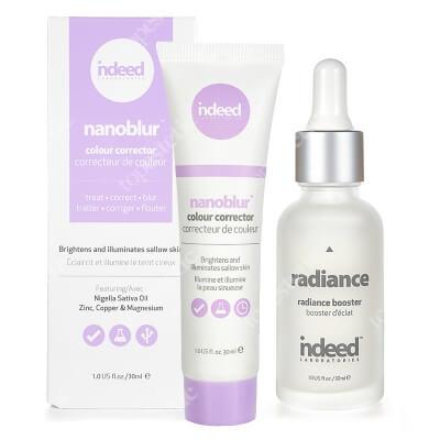Indeed Radiance Booster + Nanoblur Colour Corrector Purple ZESTAW Serum rozświetlające typu booster 30 ml + Korygujący krem rozświetlający skórę 30 ml