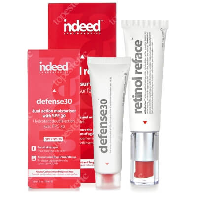 Indeed Retinol Reface + Defense 30 ZESTAW Efekt nowej skóry i intensywna kuracja przeciwzmarszczkowa 30 ml + Nawilżający krem ochronny SPF30 30ml