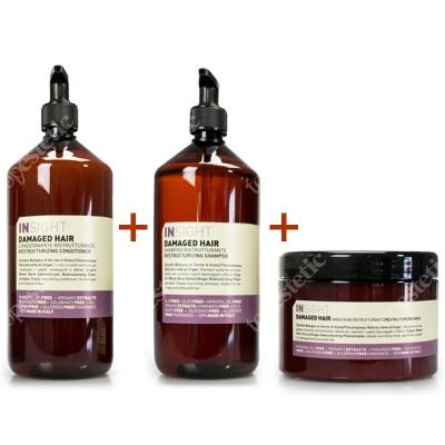 InSight Dammage Hair Set ZESTAW do włosów zniszczonych Szampon 900 ml + Odżywka 900 ml + maska 500 ml