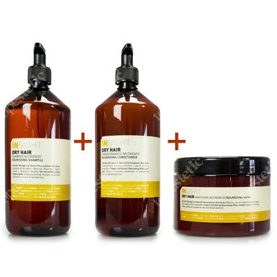 InSight Dry Hair Nourishing Conditioner + Dry Hair Nourishing Shampoo + Dry Hair Nourishing Mask ZESTAW Odżywka silnie nawadniająca do włosów suchych 900 ml + Szampon odżywczy do włosów suchych 900 ml + Maska odżywcza do włosów suchych