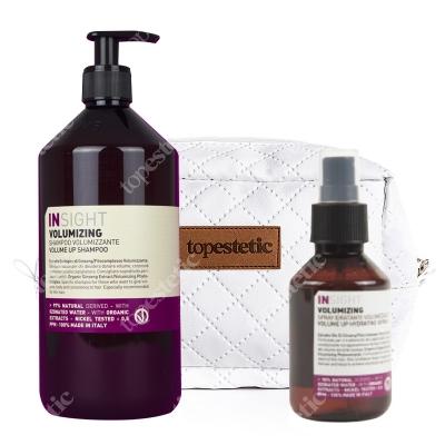 InSight Volumizing Volume Up Hydrating Spray + Volumizing Volume Up Shampoo + Kosmetyczka ZESTAW Nawilżający spray dodający objętości 100 ml + Szampon zwiększający objętość 900 ml + Biała, pikowana kosmetyczka