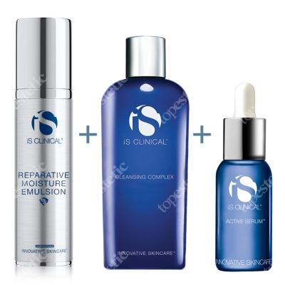 iS Clinical Reparative Moisture Emulsion + Active Serum + Cleansing Complex ZESTAW Krem nawilżający 50 ml + Serum przeciwzmarszczkowe 15 ml + Żel 60 ml