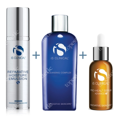 iS Clinical Reparative Moisture Emulsion + Pro Heal Serum + Cleansing Complex ZESTAW Krem nawilżający 50 ml + Serum 15 ml + Żel 60 ml