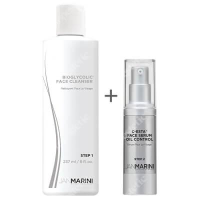 Jan Marini Bioglycolic Face Cleanser + C-ESTA Face Serum Oil Control ZESTAW Emulsja do mycia twarzy z kwasem glikolowym 237 ml + Serum z witaminą C i DMAE dla skóry tłustej 30 ml