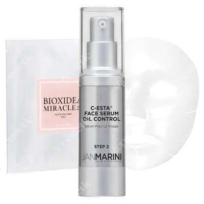 Jan Marini Lifting i Rozświetlenie Dla Skóry Tłustej ZESTAW Serum z witaminą C i DMAE dla skóry tłustej 30 ml + Maska na twarz nawilżająco - liftingująca 1 szt