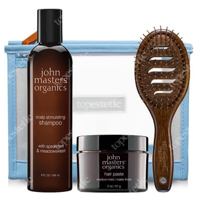 John Masters Organics Dla Mężczyzn (oczyszczanie + stylizacja MAT) ZESTAW Pasta do stylizacji 57 g + Szampon 236 ml + Szczotka + Kosmetyczka