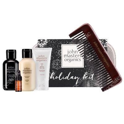 John Masters Organics Holiday Kit ZESTAW Świąteczny do włosów z kosmetyczką + Ekologiczny grzebień z bambusa.