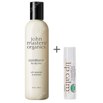 John Masters Organics Lavender And Avocado Intensive Conditioner + Szminka Gratis ZESTAW Lawenda i awokado – intensywna odżywka 236 ml + Balsam do ust - Wanilia 4 g