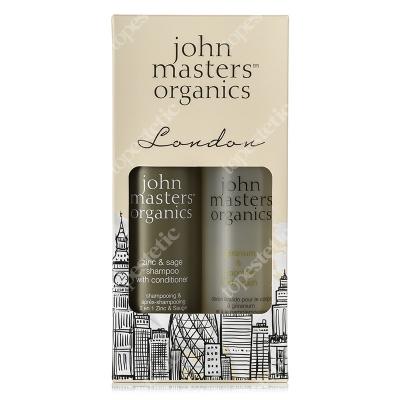 John Masters Organics London Set ZESTAW Cynk i szałwia - szampon z odżywką 236 ml + Geranium i grejpfrut - żel pod prysznic 236 ml