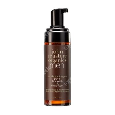 John Masters Organics Men Eucalyptus & Agave 2 in 1 Face Wash & Shave Foam Pianka do mycia twarzy i golenia 2 w 1 dla mężczyzn 177 ml