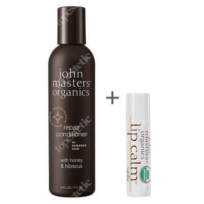 John Masters Organics Repair Conditioner With Honey And Hibiscus + Szminka Gratis ZESTAW Odżywka do włosów zniszczonych z miodem i hibiskusem 177 ml + Balsam do ust - Wanilia 4 g