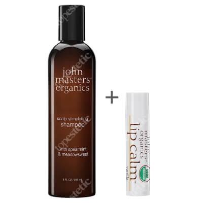 John Masters Organics Scalp Stimulating Shampoo + Szminka Gratis ZESTAW Mięta i wiązówka błotna – Szampon stymulujący skórę głowy 236 ml + Balsam do ust - Wanilia 4 g