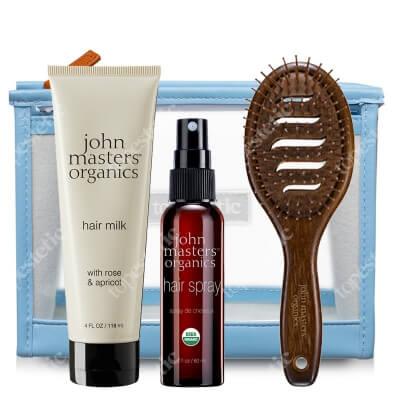 John Masters Organics Stylizacja (ochrona przed temperaturą, utrwalenie) ZESTAW Mleczko 118 ml + Spray 60 ml + Szczotka + Kosmetyczka