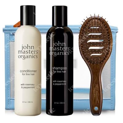 John Masters Organics Włosy Cienkie (dodanie objętości) ZESTAW Szampon 236 ml + Odżywka 236 ml + Szczotka + Kosmetyczka