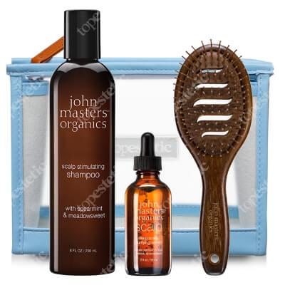 John Masters Organics Włosy Przetłuszczające się ZESTAW Serum 57 ml + Szampon 236 ml + Szczotka + Kosmetyczka