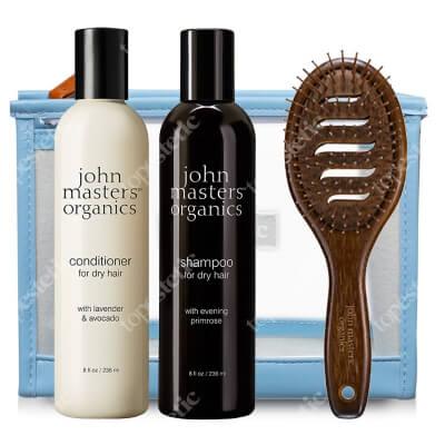 John Masters Organics Włosy Suche i Farbowane ZESTAW Szampon 236 ml + Odżywka 236 ml + Szczotka + Kosmetyczka