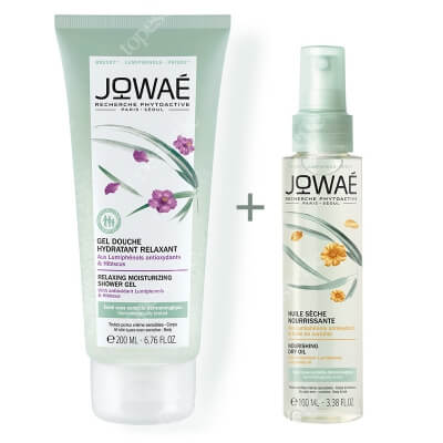 Jowae Nourishing Dry Oil & Relaxing Moisturizing Shower Gel ZESTAW Suchy olejek 100 ml + Relaksujący żel pod prysznic 200 ml