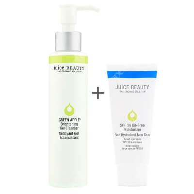 Juice Beauty Brightening Gel Cleanser + Oil Free Moisturizer SPF 30 ZESTAW Rozświetlający żel oczyszczający 133 ml + Krem nawilżający z filtrem 60 ml