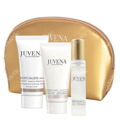 Juvena Miracle Set ZESTAW Krem przeciwstarzeniowy 25 ml + Maska przeciwstarzeniowa 25 ml + Serum przeciwstarzeniowe 10 ml + Kosmetyczka 1 szt