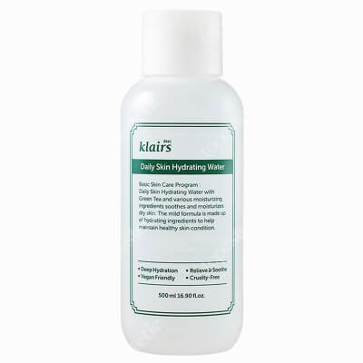 Klairs Daily Skin Hydrating Water Nawadniający tonik na bazie składników certyfikowanych jako EWG GREEN 500 ml