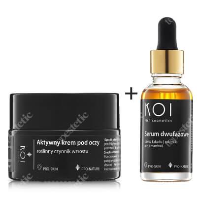Koi Serum Dwufazowe + Aktywny Krem Pod Oczy ZESTAW Śliwka kakadu, rokitnik, olej z marchwii 30 ml + Roślinny czynnik wzrostu 15 ml