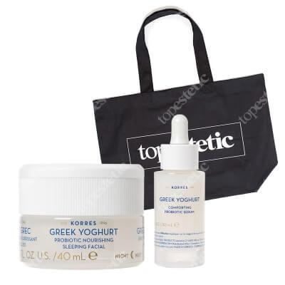 Korres Greek Yoghurt Comforting Probiotic Set ZESTAW Serum z probiotykami 30 ml + Odżywcza krem-maska z probiotykami na noc 40 ml + Bawełniana duża 1 szt