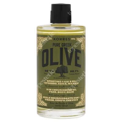 Korres Olive 3in1 Nourishing Oil, Face, Body, Hair Odżywczy olejek do twarzy, ciała i włosów 100 ml