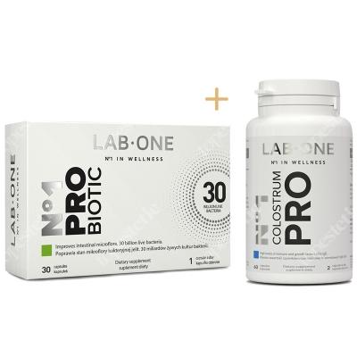 Lab One N°1 ProBiotic + N°1 Colostrum Pro ZESTAW ProBiotic suplement diety 30 kaps. + Naturalne wsparcie dla układu immunologicznego 60 kaps.