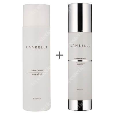 Lanbelle Clear Toner + Cleansing Gel ZESTAW Tonik do twarzy 200 ml + Żel do mycia, odświeżający skórę180 ml