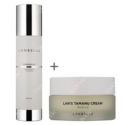 Lanbelle Lans Tamanu Cream + Cleansing Gel ZESTAW Krem kojący 30 ml + Żel do mycia, odświeżający skórę180 ml