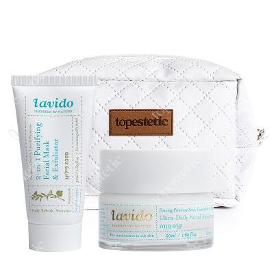 Lavido 2 in 1 Purifying Facial Maska and Exfoliator + Ultra Daily Facial Moisture Cream ZESTAW Maseczka 50 ml + Krem nawilżający 50 ml + Kosmetyczka
