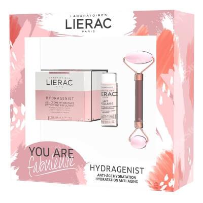 Lierac Hydragenist Set ZESTAW Krem 50 ml + Mleczko micelarne 30 ml + Roller do twarzy z różowego kwarcu