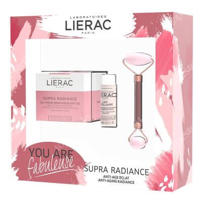 Lierac Supra Radiance Set ZESTAW Krem 50 ml + Mleczko micelarne 30 ml + Roller do twarzy z różowego kwarcu