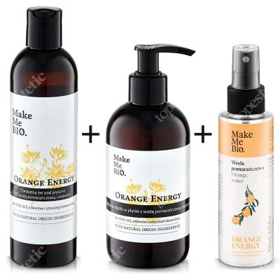 Make Me Bio Orange Set ZESTAW Żel pod prysznic z wodą pomarańczową i olejkami 300 ml + Mydło w płynie z wodą pomarańczową i olejkami 250 ml + Woda pomarańczowa 100 ml