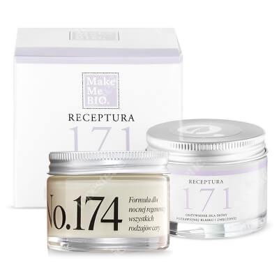 Make Me Bio Receptura 174 + Receptura 171 ZESTAW Formuła dla nocnej regeneracji wszystkich rodzajów cery 50 ml + Odżywienie dla skóry pozbawionej blasku i zmęczonej 50 ml