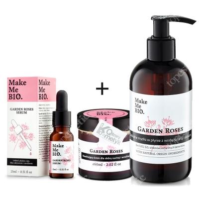 Make Me Bio Rose Set ZESTAW Serum odżywienie i nawilżenie 15 ml + Nawilżający krem dla skóry suchej i wrażliwej 60 ml + Mydło w płynie z wodą różaną 250 ml