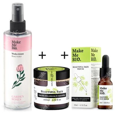 Make Me Bio Zestaw Dla Cery Trądzikowej ZESTAW Serum dla cery trądzikowej 15 ml + Krem dla skóry skłonnej do wyprysków 60 ml + Hydrolat z róży damasceńskiej 200 ml