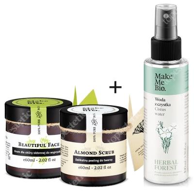 Make Me Bio Zestaw Oczyszczający ZESTAW Peeling do twarzy 60 ml + Hydrolat z czystka100 ml + Krem dla skóry skłonnej do wyprysków 60 ml